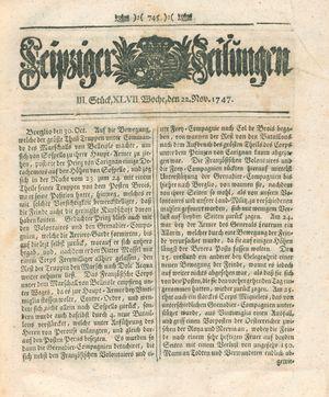 Leipziger Zeitungen vom 22.11.1747