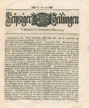 Leipziger Zeitungen vom 23.11.1747