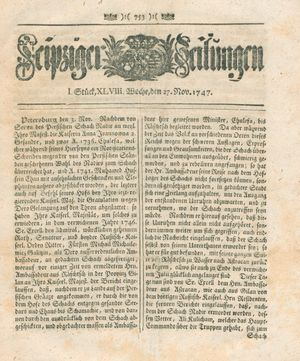 Leipziger Zeitungen vom 27.11.1747