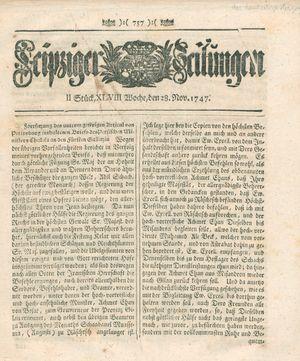 Leipziger Zeitungen vom 28.11.1747