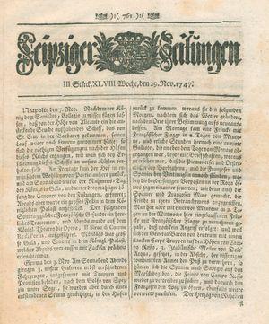 Leipziger Zeitungen vom 29.11.1747