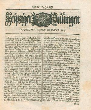 Leipziger Zeitungen vom 30.11.1747