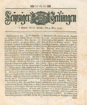 Leipziger Zeitungen vom 04.12.1747