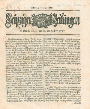 Leipziger Zeitungen vom 05.12.1747