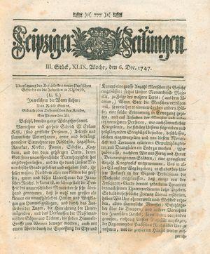 Leipziger Zeitungen on Dec 6, 1747