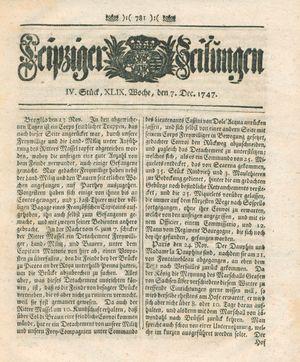 Leipziger Zeitungen vom 07.12.1747