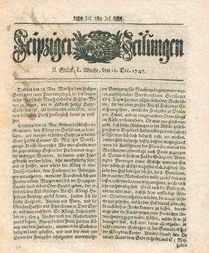 Leipziger Zeitungen vom 12.12.1747