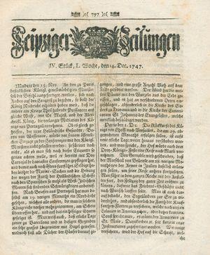 Leipziger Zeitungen vom 14.12.1747