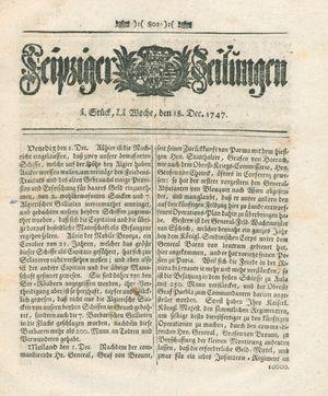 Leipziger Zeitungen vom 18.12.1747
