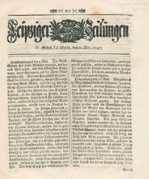 Leipziger Zeitungen vom 21.12.1747