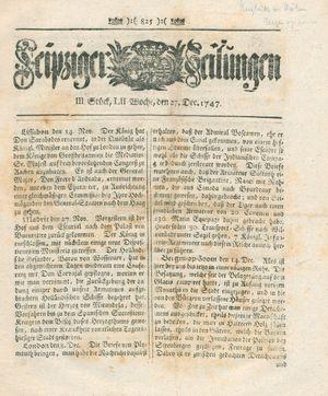 Leipziger Zeitungen vom 27.12.1747