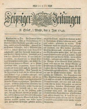 Leipziger Zeitungen vom 02.01.1748