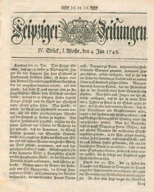 Leipziger Zeitungen vom 04.01.1748
