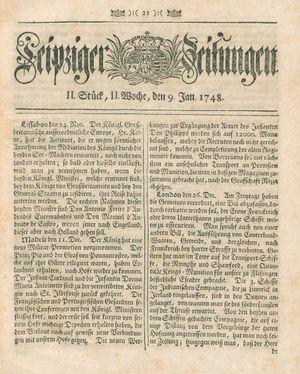 Leipziger Zeitungen vom 09.01.1748