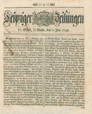 Leipziger Zeitungen vom 11.01.1748