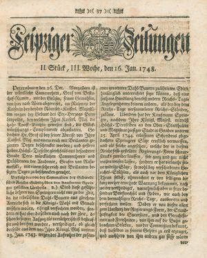 Leipziger Zeitungen vom 16.01.1748