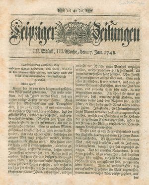 Leipziger Zeitungen vom 17.01.1748