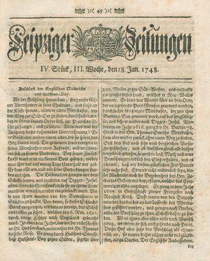 Leipziger Zeitungen vom 18.01.1748