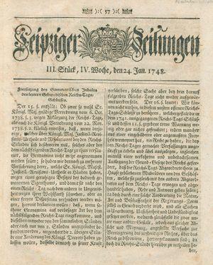 Leipziger Zeitungen vom 24.01.1748