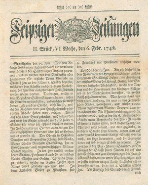 Leipziger Zeitungen vom 06.02.1748