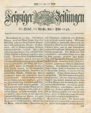 Leipziger Zeitungen vom 07.02.1748