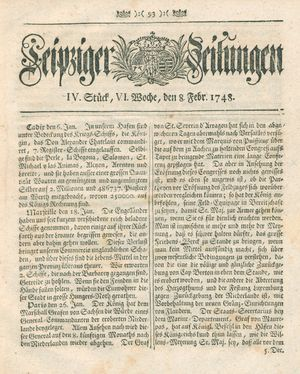 Leipziger Zeitungen vom 08.02.1748