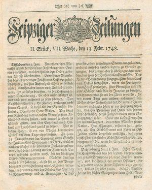 Leipziger Zeitungen vom 13.02.1748