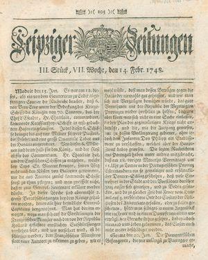 Leipziger Zeitungen vom 14.02.1748