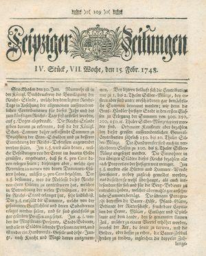 Leipziger Zeitungen vom 15.02.1748
