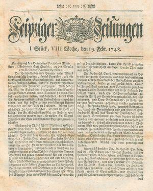 Leipziger Zeitungen vom 19.02.1748