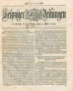 Leipziger Zeitungen vom 20.02.1748