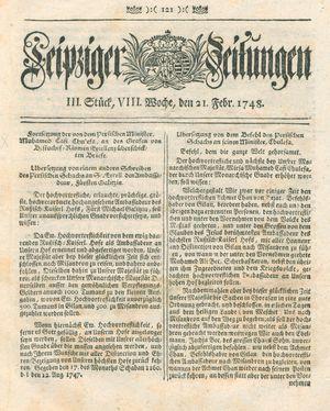Leipziger Zeitungen vom 21.02.1748