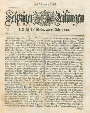 Leipziger Zeitungen vom 26.02.1748