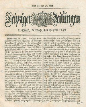 Leipziger Zeitungen vom 27.02.1748