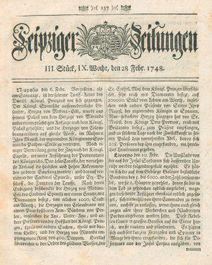 Leipziger Zeitungen vom 28.02.1748