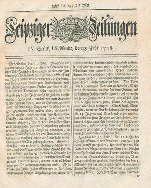 Leipziger Zeitungen vom 29.02.1748
