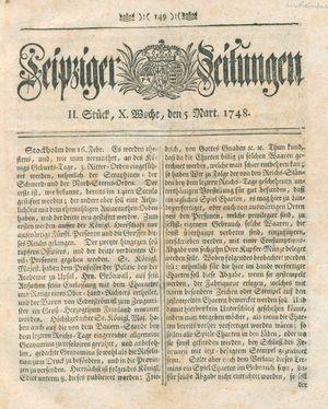 Leipziger Zeitungen vom 05.03.1748