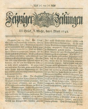 Leipziger Zeitungen vom 06.03.1748