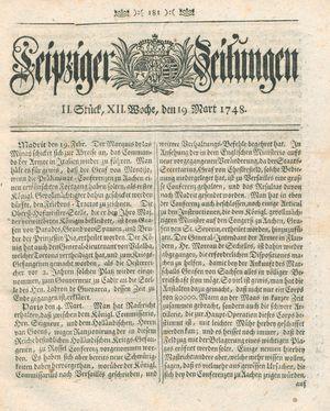 Leipziger Zeitungen vom 19.03.1748