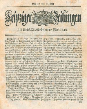 Leipziger Zeitungen vom 20.03.1748