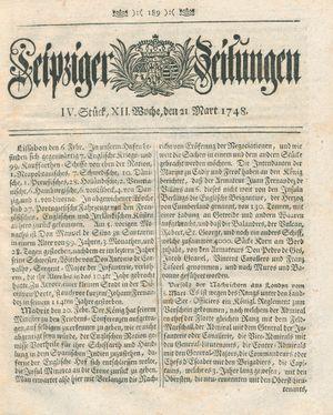Leipziger Zeitungen vom 21.03.1748