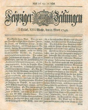 Leipziger Zeitungen vom 25.03.1748