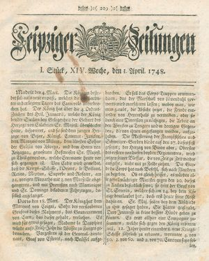 Leipziger Zeitungen vom 01.04.1748