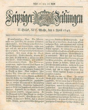 Leipziger Zeitungen vom 02.04.1748