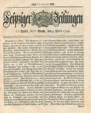 Leipziger Zeitungen vom 04.04.1748