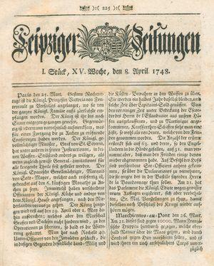 Leipziger Zeitungen vom 08.04.1748