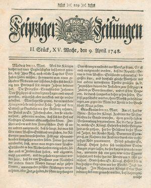 Leipziger Zeitungen vom 09.04.1748