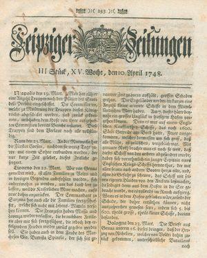 Leipziger Zeitungen vom 10.04.1748