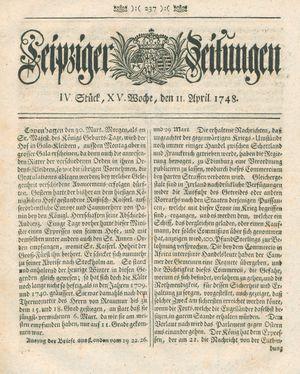 Leipziger Zeitungen vom 11.04.1748