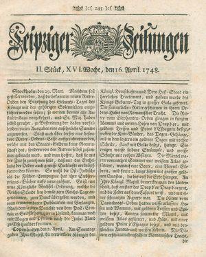 Leipziger Zeitungen vom 16.04.1748